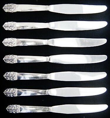 "Lot Of 7 International Silver NORTHERN LIGHTS BURNISHED Butter Knives 9"" (A5364)"