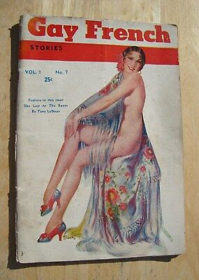 Vintage GAY FRENCH STORIES vol 1 no 7 girlie pulp magazine rare pin up 1930's