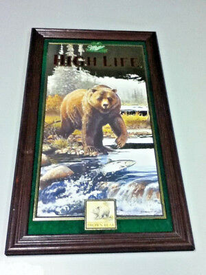Miller high life beer mirror bar sign Brown Bear 1st of 4 in series #4 1997  IV4