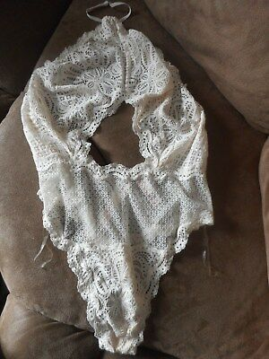 Victoria Secret Dream Angels X-Small Ivory Lace High-Neck One-Piece Teddy New!