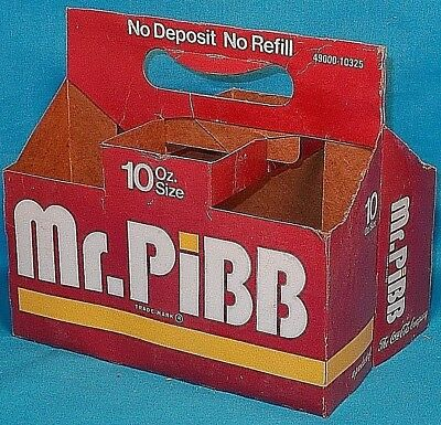 Mr. PiBB 6-Pack 10oz Bottle Cardboard Carton / Carrier Late 1970s / Early 1980s