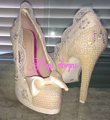 Women Wedding High Heels, Shoes, Ivory Pearl Lace, Party, Sweet 16, Quince Años