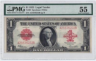 1923 $1 US Legal Tender Note Fr#40 AB Block (PMG 55 About Uncirculated) RED SEAL