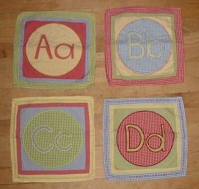 Lot 4 Pottery Barn Kids Alphabet Cloth Squares Wall Hangings A B C D 12.5""