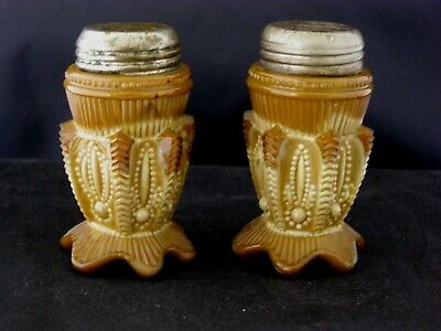 Antique Greentown Chocolate Glass Salt and Pepper Shakers - Cactus Pattern