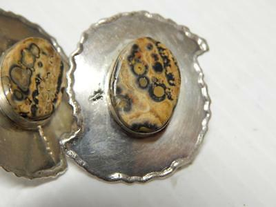 Fossil Ammonite Antique Vintage Mexican Sterling Silver Earrings Mexico