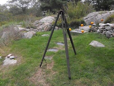 Antique Tripod, Transit With Suspension System. Wood And Brass, Nice