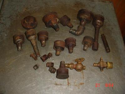Old Gas Engine Grease Cups & Brass Valves