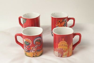Nescafe Clasico Mexico Mugs Set of 4 Red Excellent Condition
