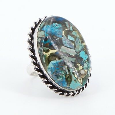 VTG Silver Plated - Braided Turquoise Composite Ring Size 6.5 - 12g