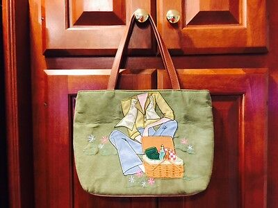 Longaberger Homestead PICNIC PICTURE Tote Purse Bag LITE GREEN REAL BRAND