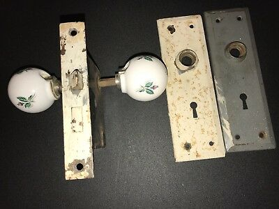 Vintage Skeleton Lock, Face Plates And Ceramic Door Knob Set
