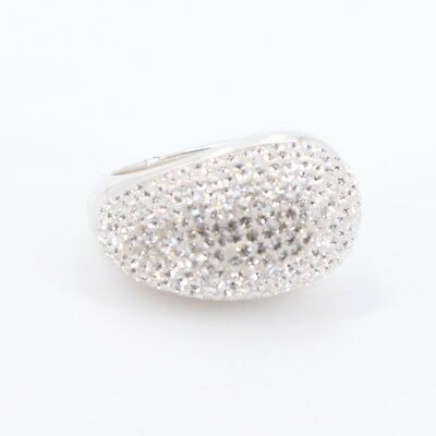 Sterling Silver - CZ Cubic Zirconia Pave Tapered Band Ring Size 7 - 9g
