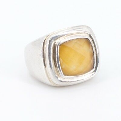Sterling Silver - Faceted Quartz Tapered Band Ring Size 7 - 9g