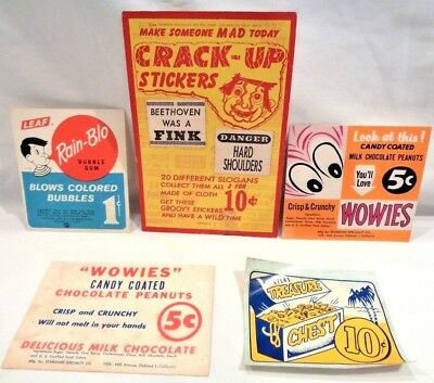 5 RARE 1950's-60's VENDING MACHINE 1 cent, 5 cent & 10 cent display card headers