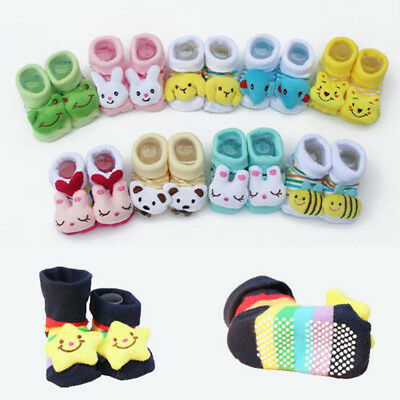 0-12 Months Baby Boots Anti-slip Socks Cartoon Newborn Girl Boy Slipper Shoes Df
