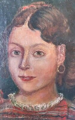 antique oil painting canvas girl