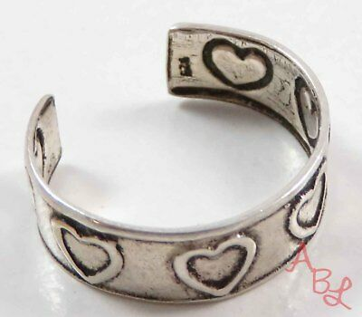 Sterling Silver Vintage 925 Love & Hearts Toe Ring Ring Sz 4.5 (0.9g) - 738236
