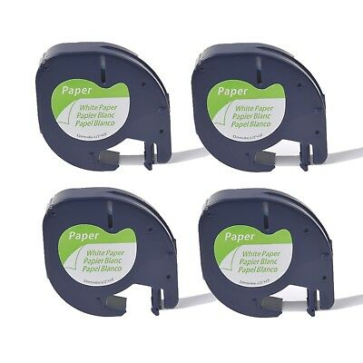 4PK Paper Label Tape for DYMO Letra Tag LT100H LT91330 Black on White 12MM