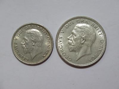 Great Britain 1936 Florin & One Shilling Silver Type World Coin Collection Lot