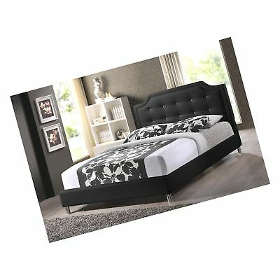 Baxton Studio Carlotta Modern Bed With Upholstered Headboard Black