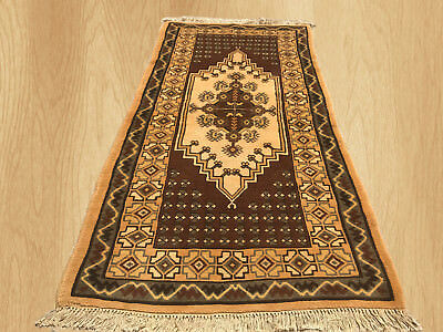 Genuine Soft Wool Hand Knotted Antique Morocco Wool Area Rug 6 x 3 Ft