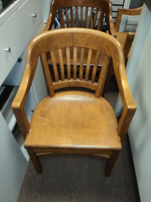 Antique Vintage Courthouse Banker Lawyers Wood Arm Chair by W.H Gunlocke 1966