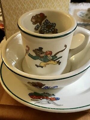 CHILD'S PLATE~~CUP~~BOWL~~SKATING ANIMALS~Mid-Century~~~WARWICK 1943