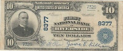 CA 1902 $ 10 Riverside California ch# 8377  hard to find  ( Bold signature )