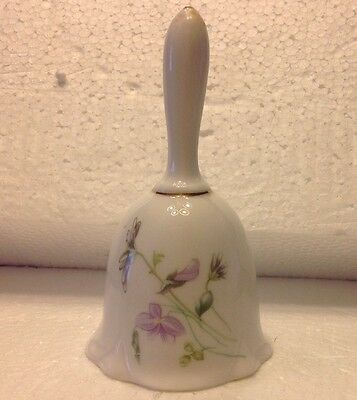 "VTG Bone China Bell W/ Lavender &Green Foral Design Approx. 4 3/4"" Tall 2 1/2"" W"
