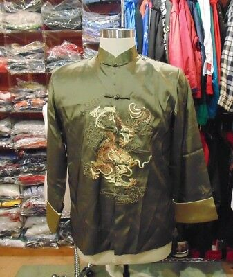 Popular Chinese Men's Kung Fu Jacket Coat Dress Embroidery Dragon -MEN SIZE XXL?