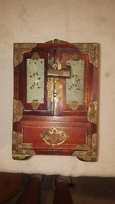 Exquisite Vintage Asian Chinese Jade Brass RoseWood Jewelry Box Chest with Lock