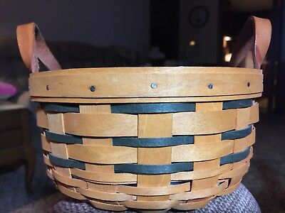 Longaberger 2001 Round Button Darning Basket Green w/ Blue Print Fabric Liner