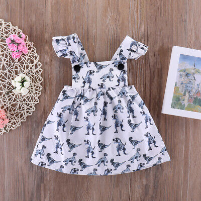 ITS- Toddlers Baby Girls Princess Summer Dinosaur Printing One Piece Dress Witty