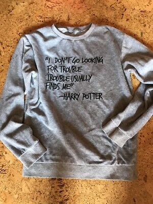 Harry Potter NikiShirt Gr. S 36/38  I DONT GO LOOKING FOR TROUBLE selten grau