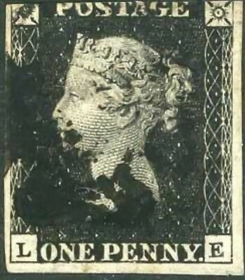 GB QV SG2 1d Penny Black Plate 5 LE Fine Used with Black MX