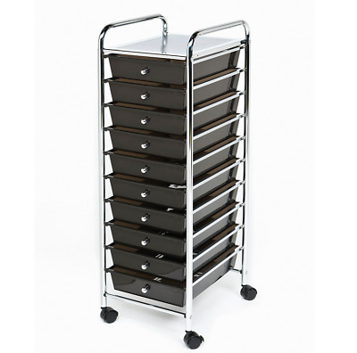 Seville Classics 10 Drawer Rolling File Organiser Cart Mobile Office School Home