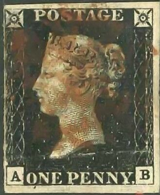 GB QV SG2 1d Penny Black Plate 5 AB Fine Used with Red MX