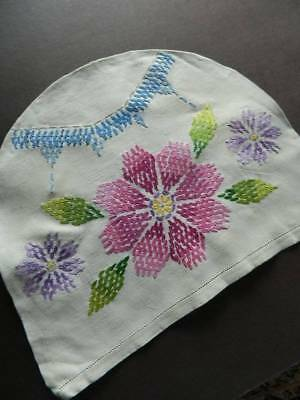 Vintage  Irish linen hand embroidered tea cosy cover - florals.