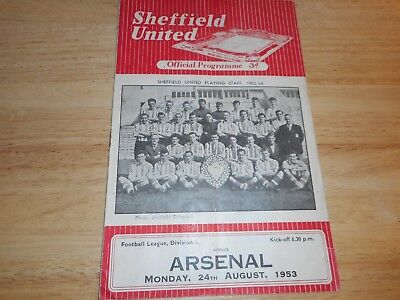 SHEFFIELD UNITED  v  ARSENAL  1953/4  ~  AUGUST 24th      *****FREE POST*****
