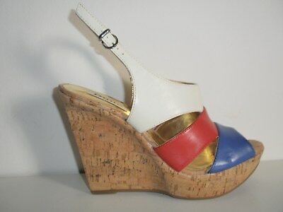 a881269e57c Dune Ladies womens Red White Blue Leather Cork Wedge Heel Sandals Size 4 37