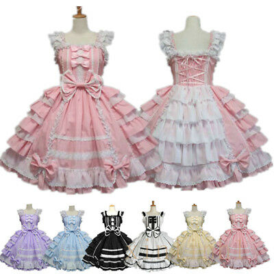 Japanese Lolita Sweet Girl Dress Princess Lace Maid Ball Gown A Line Sleeveless