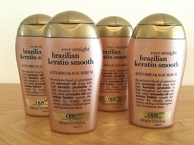 OGX Brazilian Keratin Smooth Anti Breakage Hair Serum 4 x 100 ml