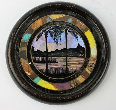 Art Deco - Butterfly Wing - Circular Framed Picture - Rio Palm Trees
