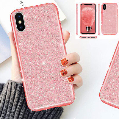 iPhone XR Xs Max Case Shockproof Slim Glitter Bling Protective Hard Phone Cover