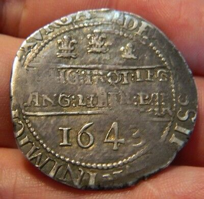 Rare 1643 Civil War Oxford Mint Charles 1St Silver Halfcrown.spink Ref#2954
