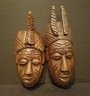 """African Art - Two Hand Carved Small Wooden Masks Ethnic Kenya 5"""" Tall x 2"""" Wide"""