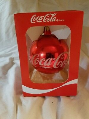 Coca Cola Christmas ornament (Log script on one side then Bear on Other) NIB
