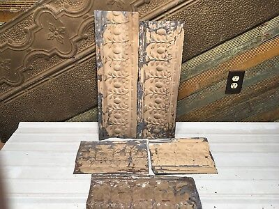 "5pc Lot of 24"" by 7"" Antique Ceiling Tin Vintage Reclaimed Salvage Art Craft"