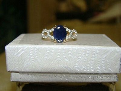 Women's 1.2Ct Engagement Blue Sapphire And Diamond Ring In 14K Yellow Gold Over